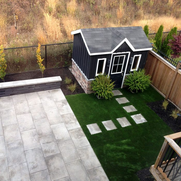 Interlock, retaining wall, garden stepping stones, turf