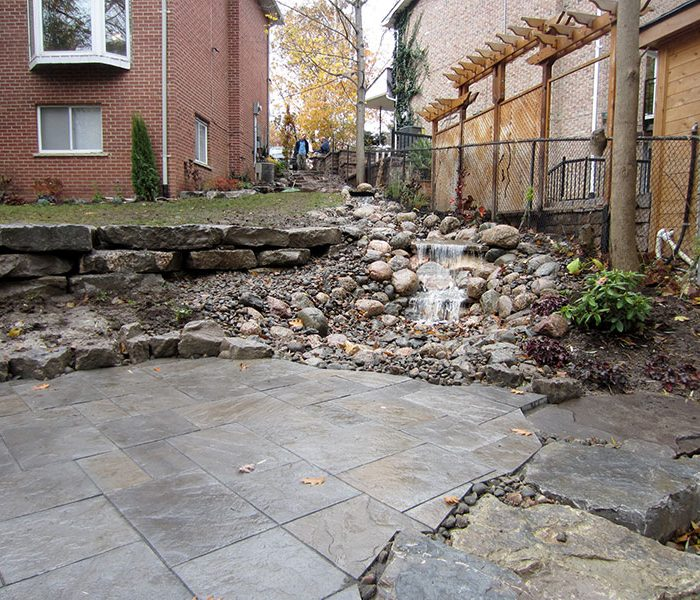 Waterfall, Retaining Wall, and Patio